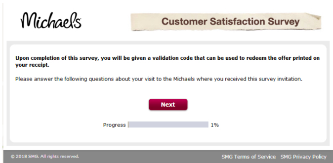 michaels survey validation code