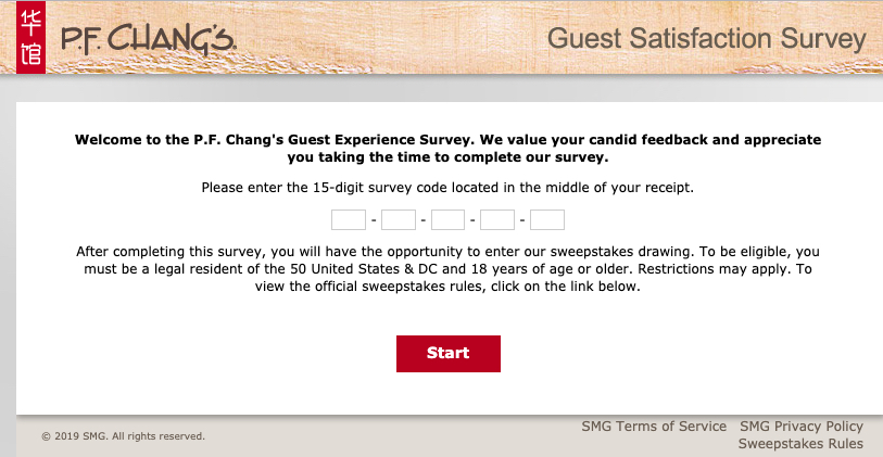 PF Changs survey