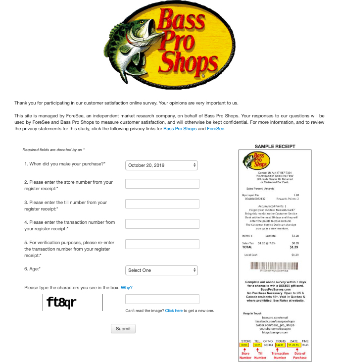 BassProSurvey with receipt