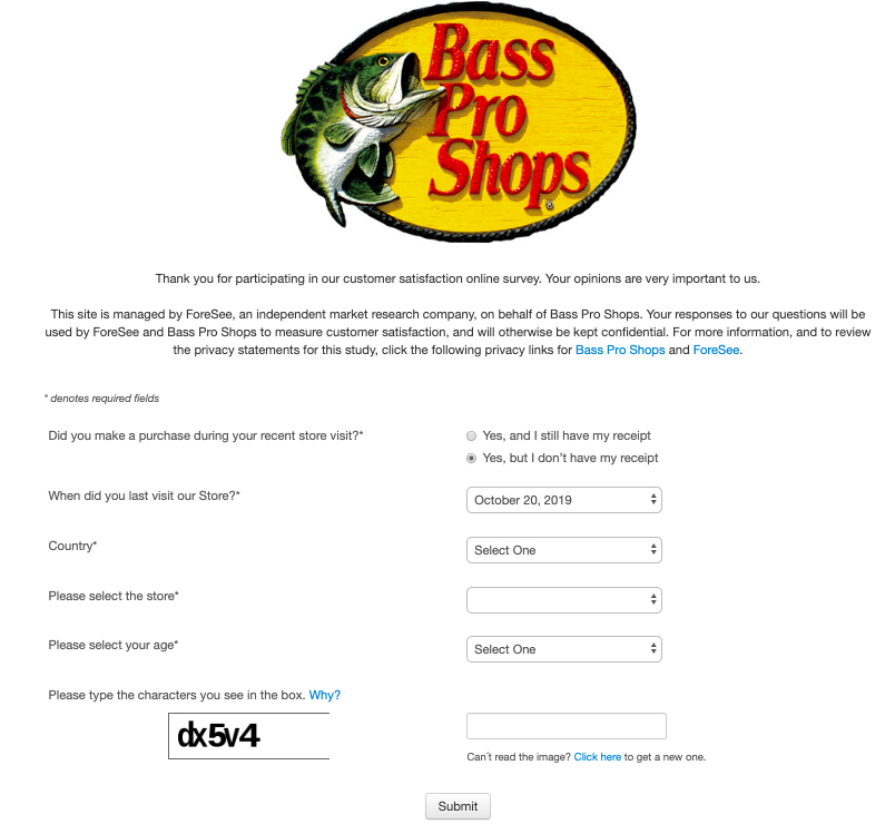BassProSurvey without reciept