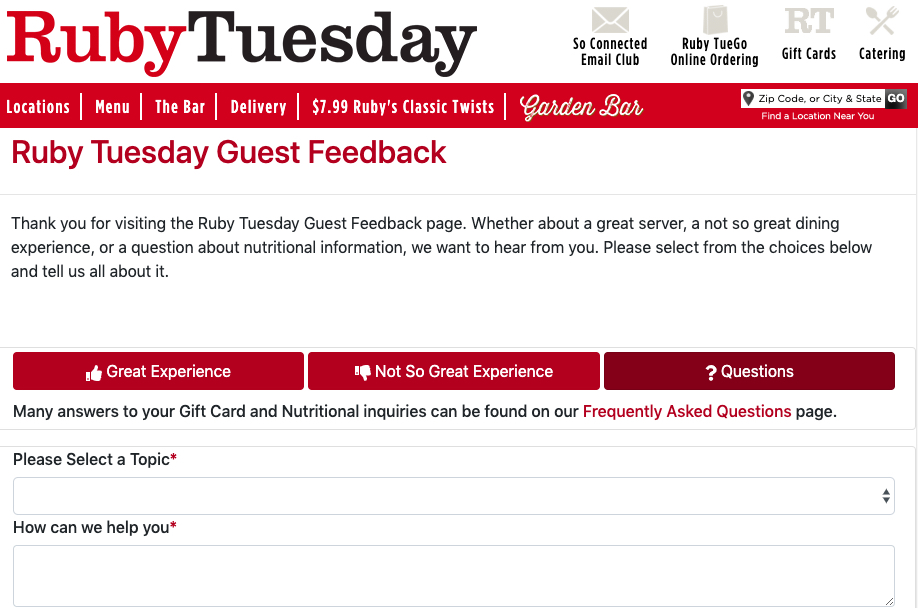 Ruby Tuesday guest feedback