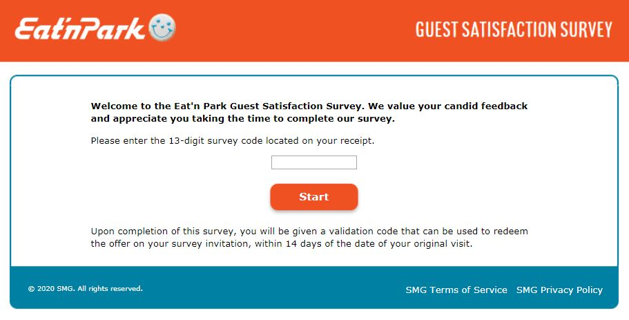 Eat N Park Survey Homepage