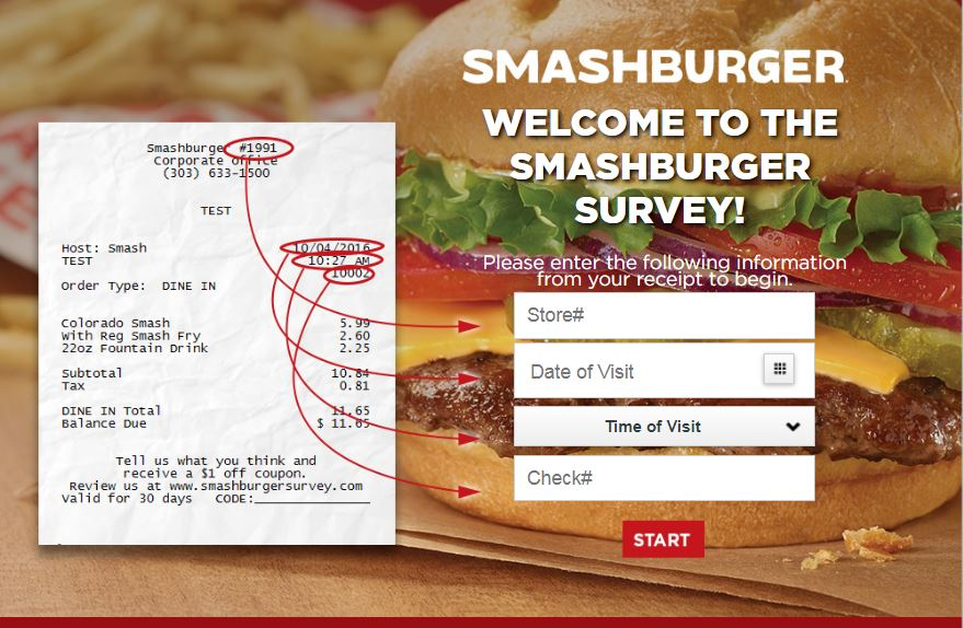 Smashburger survey homepage