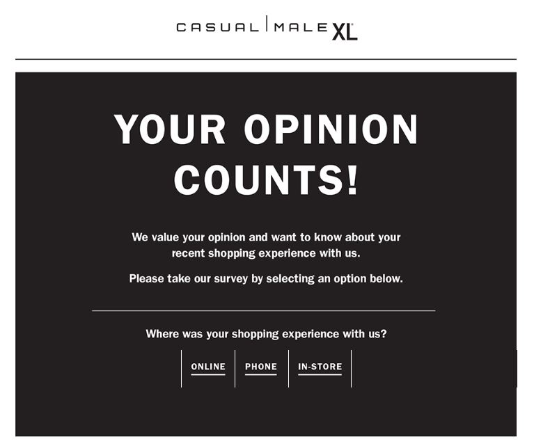 casual man survey homepage
