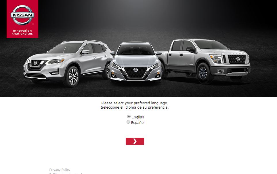 Nissan USA Survey homepage