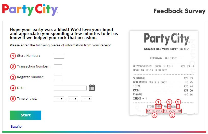 Party City Survey Homepage
