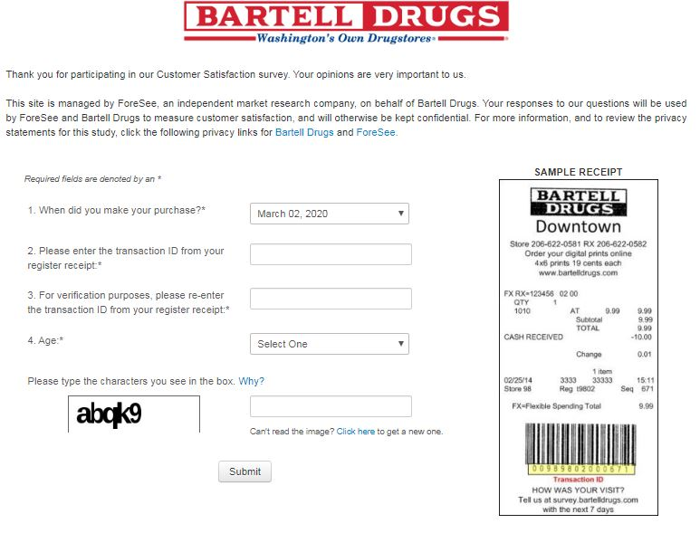bartell drugs survey homepage