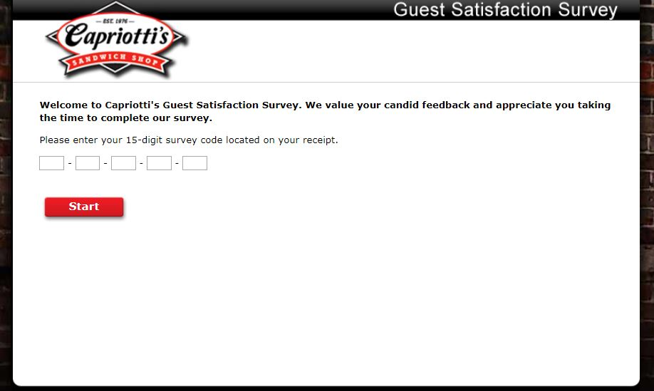 Capriottis Survey Homepage