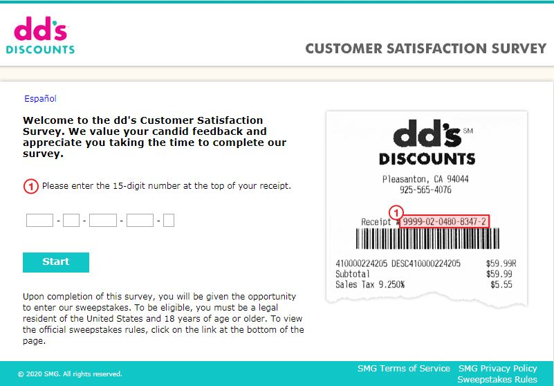 dds discounts survey homepage